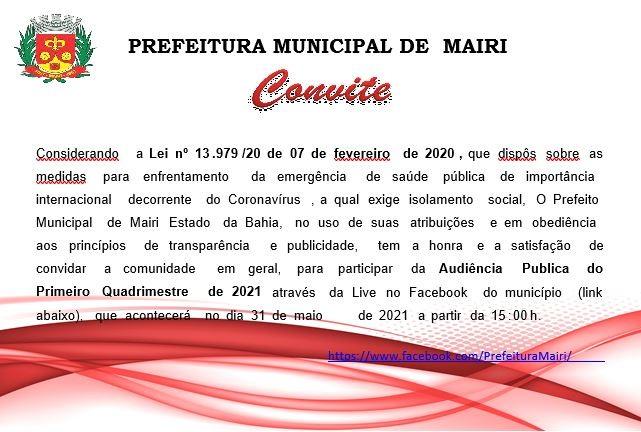 """Audiência Pública do 1º Quadrimestre de 2021 será realiza segunda-feira (31) através de """"live"""""""
