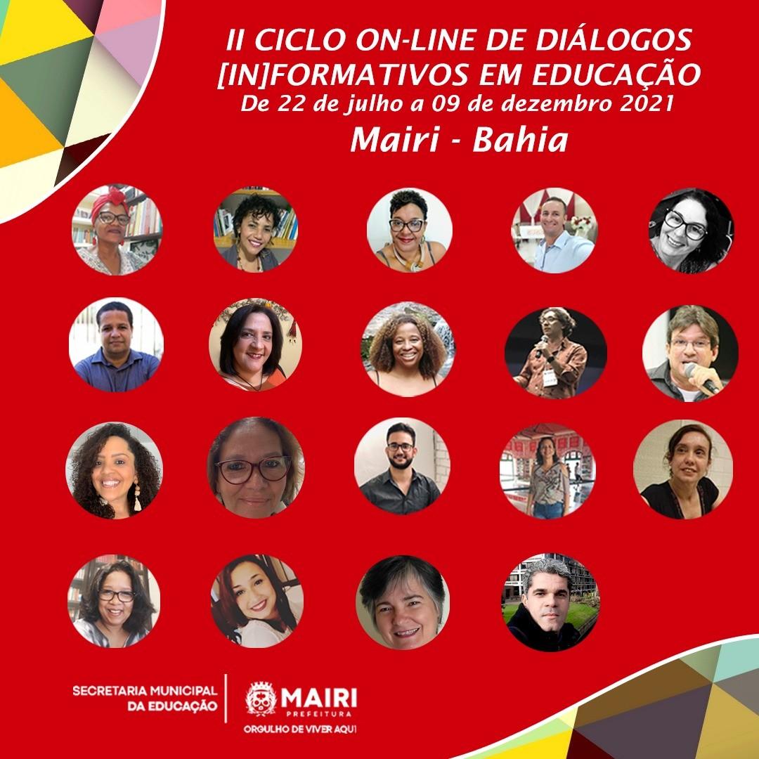 Secretaria Municipal da Educação de Mairi promove II Ciclo On-line de Diálogos [In]Formativos em Educação