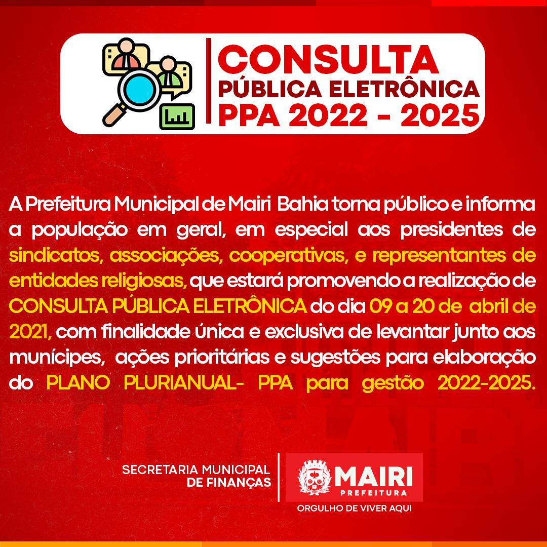 Participe da construção do Plano Plurianual 2022/2025